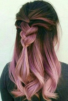 Rose gold with lavender streaks