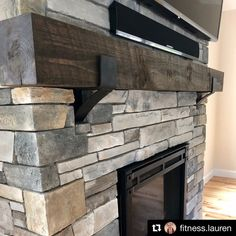 Farmhouse Mantel Brackets - 4 wide with 3 curved support bar Farmhouse Fireplace, Home Fireplace, Fireplace Remodel, Fireplace Design, Farmhouse Decor, Airstone Fireplace, Fireplace Ideas, Grey Stone Fireplace, Fireplace Frame