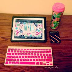 This photo captures it: my iPad & my Lilly coffee travel tumbler.