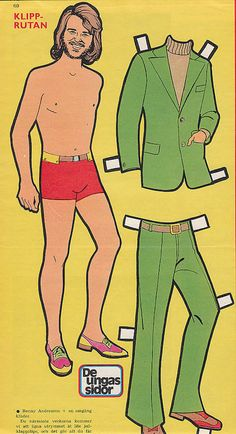 Benny Andersson of ABBA vintage Swedish paper doll (1970)
