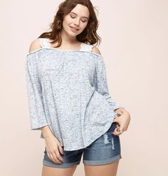 9db51b0ebf400 Add feminine styles to your wardrobe with the plus size Spacedye Eyelet Cold  Shoulder Top in