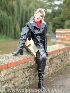Black Rubber Raincoat & Overknee Boots