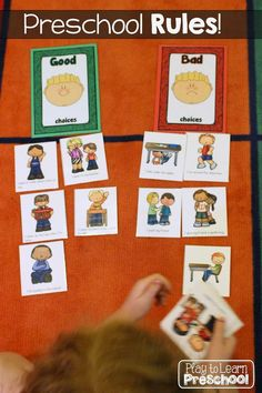 First Week Centers and Circle Time Good Choices - Bad Choices Behavior Sorting Activity - Play to Learn Preschool