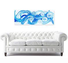 "original abstract painting modern fine art on canvas - texture - blue white metallic silver - prana 12""x48"". $300.00, via Etsy."