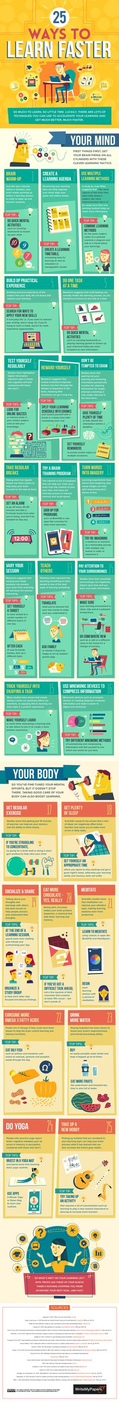 Ways to Learn Faster (Infographic) Try these tips to speed up your cognitive processes. MoreTry these tips to speed up your cognitive processes. E Learning, Learning Styles, Learning Methods, Learning Techniques, Study Techniques, Blended Learning, Lerntyp Test, Learn Faster, Study Help