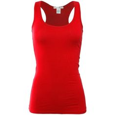Bozzolo Women's Basic Cotton Spandex Racerback Solid Plain Fitted Tank... ($7.95) ❤ liked on Polyvore featuring tops, fitted racerback tank tops, racer back tank, red racerback tank, racerback top and red tank top