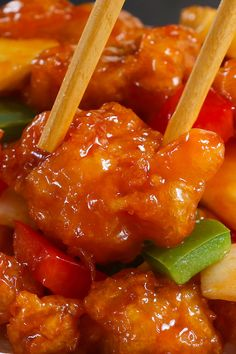 Sweet and Sour Chicken has the most delicious crispy chicken with chunks of onion, bell pepper and pineapple in a homemade sweet and sour sauce. Homemade Chinese Food, Chinese Chicken Recipes, Easy Chinese Recipes, Asian Recipes, Sweet Sour Chicken, Crispy Chicken, Orange Chicken, Sweet And Sour Pineapple Chicken Recipe, Homemade Sauce