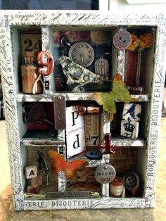 "My personal Tim Holtz -Configurations Shadow box and ""idea-ology embellishments."