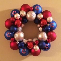 DIY Chicago Cubs Christmas Ornament Wreath
