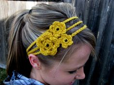 The Beaded Très Chic Headband In Mustard. $14.00, via Etsy.