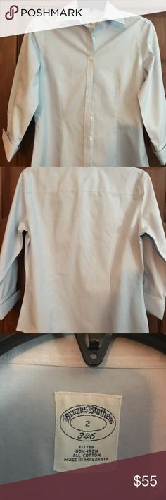 Brooks Brothers Women's Fitted button down shirt Light blue women's fitted button shirt. Great condition, like new. Super classy and sophisticated 👌🏻 Brooks Brothers Tops Button Down Shirts