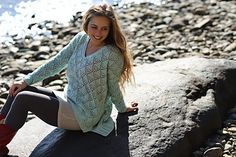 Beachcomber Pullover is worked in our buttery soft 50/50 merino/tussah silk yarn in sport. It features an all over lace pattern with a deep V-neck and a longer tail in the back. It's next to skin soft for wearing over a cami, or equally stylish layered for 3 season enjoyment.