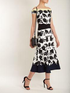Off-the-shoulder rose-intarsia dress   Alexander McQueen   MATCHESFASHION.COM UK