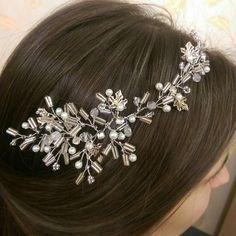 Bridal Headpiece, Crystal Bridal Hair Piece, Cristal and Pearl Bridal Headpiece, Bridal Hair Halo, Crystal and Pearl Wedding Hair Piece. by RoyalAccessoriesAE on Etsy