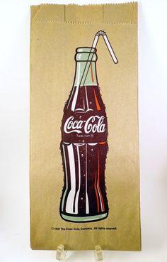 1991 Vintage Coca Cola Bottle Lunch Bag Brown Paper Unused Collectible #CocaCola