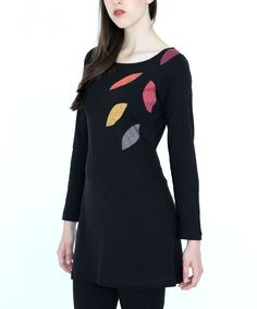 Black & Red Organic Cotton Filoli Leave Patches Dress - Plus Too