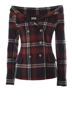 FAITH CONNEXION  - Off-the-shoulder tartan wool jacket