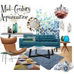 """Mid-Century Aquamarine"" by szaboesz on Polyvore"