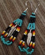 Navajo Native American Beaded Turquoise Feather Earrings