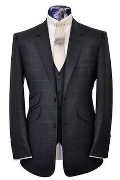 The Teller Charcoal with Chalk Windowpane - William Hunt Savile Row - 1 #menssuitscharcoal
