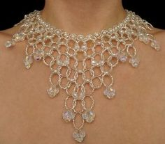 Faux pearl silver Czech glass beaded draping by originalbeading