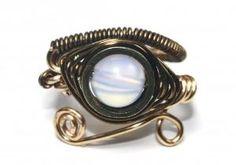 Egyptian Wire Ring - Eye of Horus - Moonstone   PrimevalSands - Jewelry on ArtFire