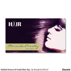 Stylish Scissor & Comb Hair Stylist Appointment Double-Sided Standard Business Cards (Pack Of Custom Business Cards, Standard Business Card Size, Write It Down, Get The Job, Appointments, Scissors, Stylists, How To Make, Prints