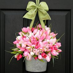 Spring Wreath Tulip Wreath Pink Wreath by EverBloomingOriginal
