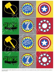 Avengers Party Cupcake Toppers,