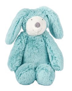 Bande à Basile Musical Blue Bunny: Musical rabbit doll: a gentle playmate to lull baby to sleep, made entirely of soft, cuddly fur. Music plays when the square part on the back is pulled. - Moulin Roty La Bande à Basile