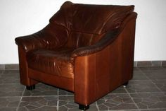 Retro Tanned Leather Single Chair - Danish - c.1970 s - Vintage