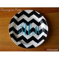 DIY Monogram Chevron Plate