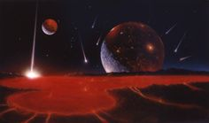 siryl:  Paintings by Rick Sternbach that were used as set dressings for Star Trek: The Next Generation. The one at top left was inspired by a famous Chesley Bonestell piece. You can see more here and here.