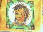 Drawn and painted on fabric - Placemat Tsonga Woman