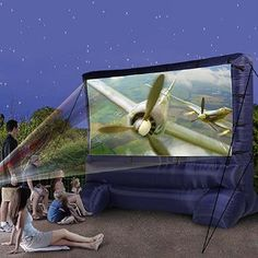 Gemmy 39127-32 Deluxe Outdoor Inflatable Movie Screen, 12-Ft. Widescreen | Great for outdoor movie night parties, but costs over $200 | might have to go with the homemade version; pinning this in case I win the lottery, lol ;).