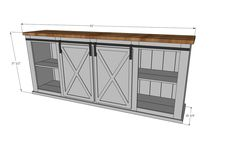 Ana White Build a Grandy Sliding Door Console Free and Easy DIY Project and Furniture Plans Diy Furniture Plans, Farmhouse Furniture, Furniture Projects, Rustic Furniture, Garden Furniture, Furniture Stores, Office Furniture, Furniture Removal, Classic Furniture