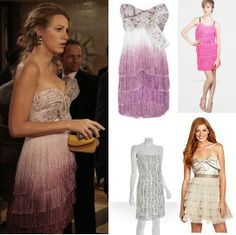 Marchesa Ombre Fringed Dress