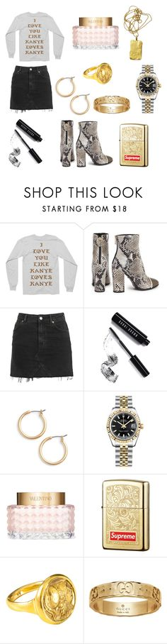 """I love you like Kanye loves Kanye"" by juliarino ❤ liked on Polyvore featuring Yeezy by Kanye West, Just Cavalli, Topshop, Bobbi Brown Cosmetics, Nordstrom, Rolex, Valentino, Zippo, ORIT and Gucci"