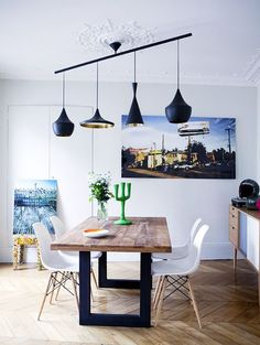 The best Dining Room Lighting Ideas is part of Scandinavian dining room - Today we bring you the best Dining Room Lighting Ideas to inspire you with different dining room lamps from contemporary lighting to modern lighting Table And Chairs, Side Chairs, Dining Table, Tables, Dining Rooms, Sweet Home, Dining Room Lighting, Best Dining, Dining Room Design