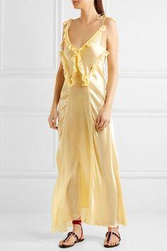 Attico - Marisa Ruffled Silk-satin Maxi Dress - Pastel yellow - 4