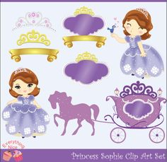 Princess Sophie Clip Art Set. $5.00, via Etsy.