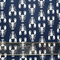Navy Lobster Craft Cotton Dressmaking Quilting Fabric