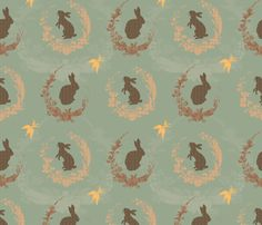 Jade Moon Rabbit - duck egg blue fabric by bee