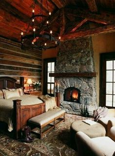 Blockhaus Schlafzimmer Ideen Interior Design-Ideen & Home Decorating Inspiration moercar Rustic Fireplaces, Home Fireplace, Fireplace Design, Bedroom Fireplace, Bedroom Ceiling, Fireplace Ideas, Stone Fireplaces, Christmas Lights Wallpaper, Christmas House Lights