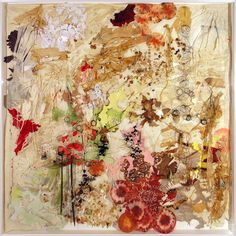 Judy Pfaff | Sculptural Paintings: full bloom: The Thing with Feathers; 2008; burnt, folded and perforated Crown Kozo paper, ink, dyed coffee filters, found images, silk flowers, binding wire, pressed fauna; 96 x 96 x 6 inches