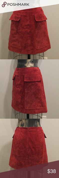 ZARA real suede Aline skirt with pockets Real suede alone skirt with patch pocket details and zipper back. Rustic red color Zara Skirts Mini