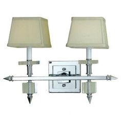 """Contemporary sconce in polished chrome with crystal accents.  Product: SconceConstruction Material: Metal and poly silkColor: Cream and polished chromeFeatures:  Hard wireCandice Olson Design Accommodates: (2) 40 Watt candelabra base bulbs - not includedDimensions: 14"""" H x 19"""" W x 9"""" D SEP2013 $372.00 to $143.00"""