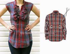 RECICLAGEM E APLICAÇÕES ~ Moda e Dicas de Costura - mens' shirts to cute tops upcycles!