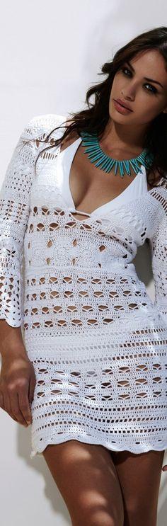 white crochet cover-up - beach