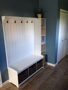 Mudroom coat hanger and storage bins  Bench: http://m.target.com/p/entryway-bench-with-3-baskets-cushions-white/-/A-717476?reco=Rec%7Cpdp%7C717476%7CClickCP%7Citem_page.new_vertical_1&lnk=Rec%7Cpdp%7CClickCP%7Citem_page.new_vertical_1  Hanger inspiration: http://www.shanty-2-chic.com/2010/10/my-hall-wall.html  We decided to use beadboard from Lowe's instead. Cubby unit:  closet maid from lowe's (2-3 cubical)